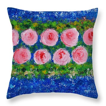 Pink Flowers On Green And Blue Throw Pillow