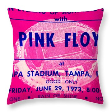 Pink Floyd Concert Ticket 1973 Throw Pillow