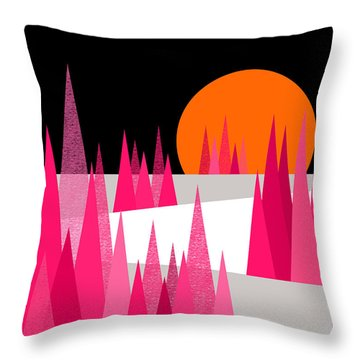 Pink Forest Throw Pillow by Val Arie