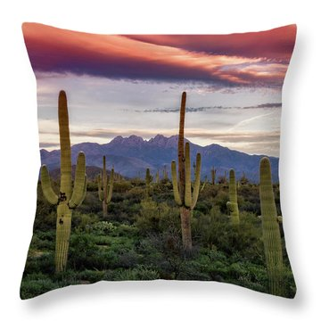 Throw Pillow featuring the photograph Pink Four Peaks Sunset  by Saija Lehtonen