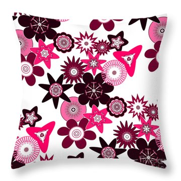 Pink Funky Flowers Throw Pillow by Methune Hively