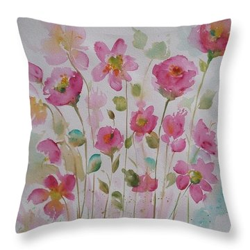 Pink Garden 2  Throw Pillow