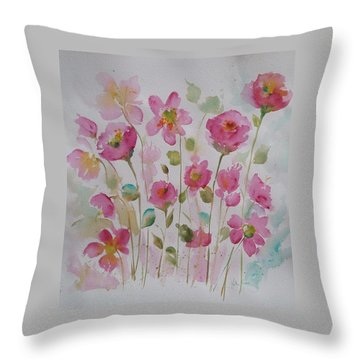 Pink Garden 2  Throw Pillow