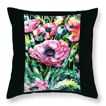 Throw Pillow featuring the painting Pink Garden Poppies  by Trudi Doyle