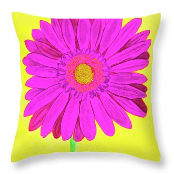Pink Gerbera On Yellow, Watercolor Throw Pillow