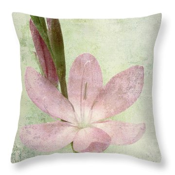 Pink Gladiolus On Green Throw Pillow