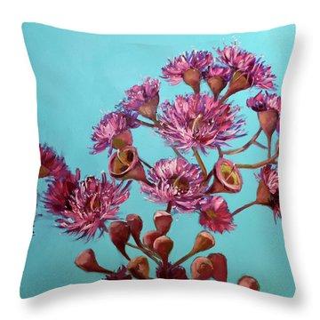 Pink Gum Blossoms Throw Pillow