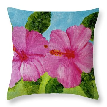Pink Hawaiian Hibiscus Flower #23 Throw Pillow by Donald k Hall