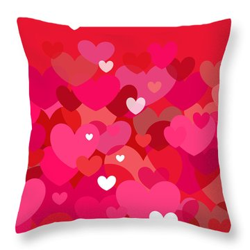 Pink Heart Abstract Throw Pillow by Val Arie