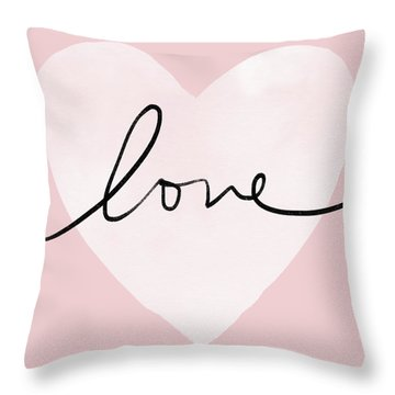 Pink Heart Love- Art By Linda Woods Throw Pillow
