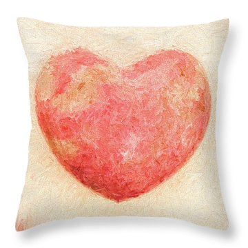 Throw Pillow featuring the photograph Pink Heart Soft And Painterly by Carol Leigh