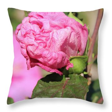 Pink Hibiscus Bud Throw Pillow by Inspirational Photo Creations Audrey Woods