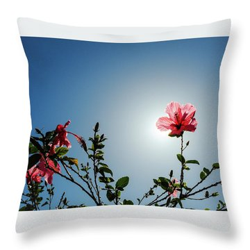 Pink Hibiscus Flowers Throw Pillow