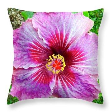 Pink Hibiscus Joyous Cosmology Throw Pillow