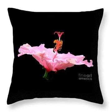 Throw Pillow featuring the photograph Pink Hibiscus With Curlicue Effect by Rose Santuci-Sofranko