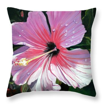 Pink Hibiscus With Raindrops Throw Pillow by Marionette Taboniar