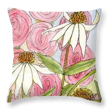 Pink Hollyhock And White Coneflowers Throw Pillow