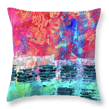 Throw Pillow featuring the painting Pink Horizon by Nancy Merkle