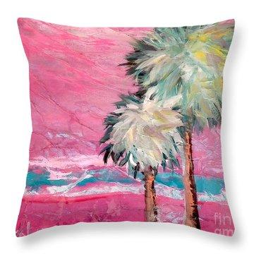 Pink Horizon Palms Throw Pillow