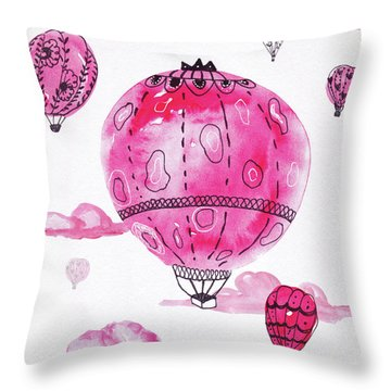 Pink Hot Air Baloons Throw Pillow