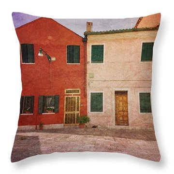 Throw Pillow featuring the photograph Pink Houses by Anne Kotan