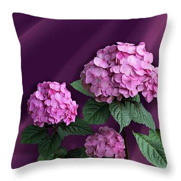 Pink Hydrangea Throw Pillow by Judy Johnson