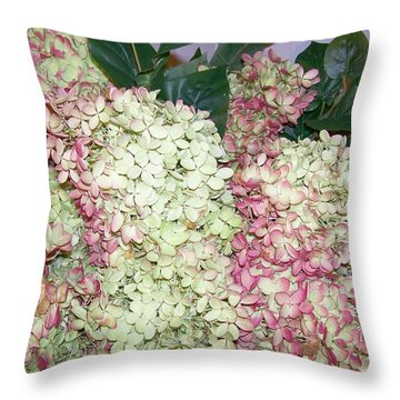 Pink Hydrangeas Throw Pillow