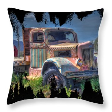 Classic Flatbed Truck In Pink Throw Pillow