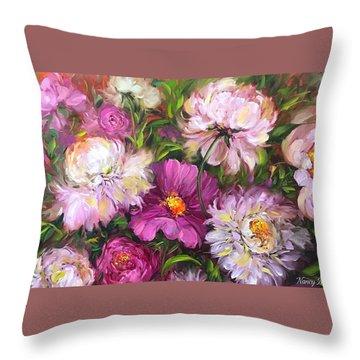 Pink Kiss Peony Bouquet Throw Pillow