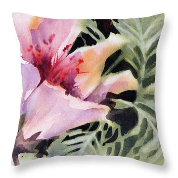 Throw Pillow featuring the painting Pink Lady by Rae Andrews