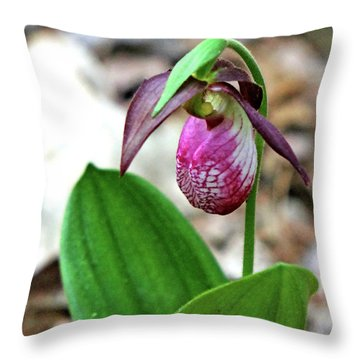 Pink Lady Slipper #1 Throw Pillow by Marle Nopardi
