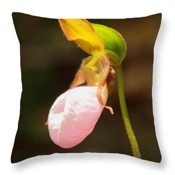 Pink Lady Slipper Throw Pillow by Roupen  Baker