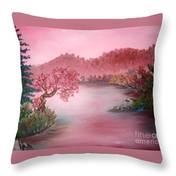 Pink Lake Throw Pillow by Emily Michaud