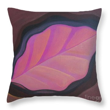 Pink Leaf Throw Pillow