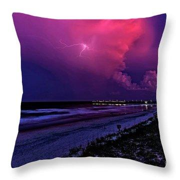 Pink Lightning Throw Pillow