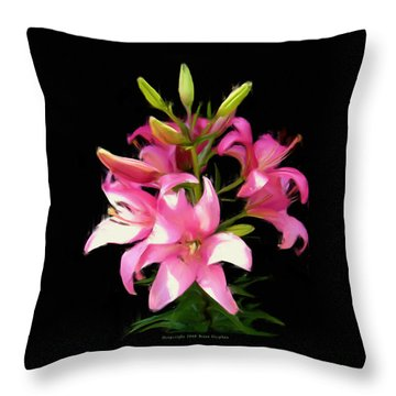 Pink Lilies 22103g Throw Pillow
