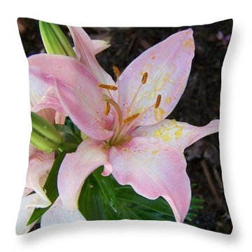 Pink Lilly Throw Pillow