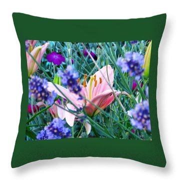 Pink Lily In The Lavender Throw Pillow by Judyann Matthews