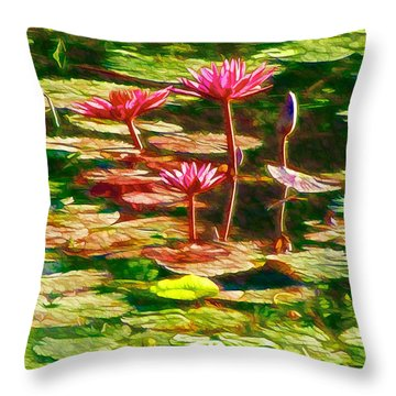 Throw Pillow featuring the painting Pink Lotus Flower 2 by Lanjee Chee