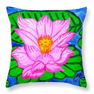 Throw Pillow featuring the painting Pink Lotus Flower by Christopher Farris