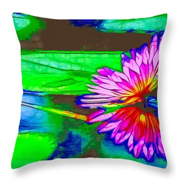 Pink Lotus Flower Reflection Throw Pillow by Lanjee Chee