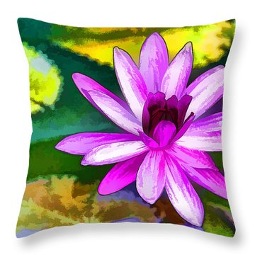 Pink Lotus Gallery  Throw Pillow by Lanjee Chee