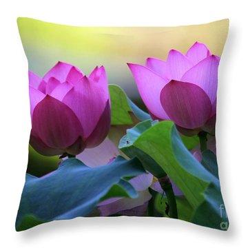 Pink Lotus Throw Pillow by Sabrina L Ryan