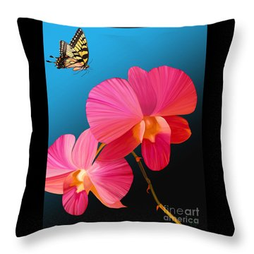 Pink Lux Butterfly Throw Pillow
