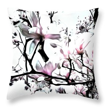 Throw Pillow featuring the photograph Pink Magnolia - In Black And White  by Janine Riley