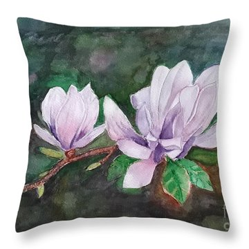 Pink Magnolia - Painting Throw Pillow
