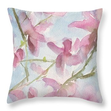 Pink Magnolias Blue Sky Throw Pillow