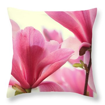 Pink Magnolias Throw Pillow by Peggy Collins