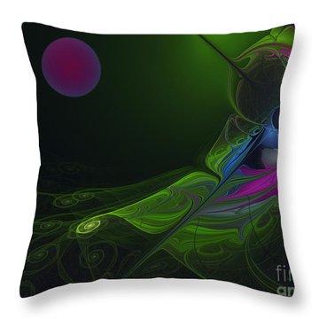 Throw Pillow featuring the digital art Pink Moon by Karin Kuhlmann