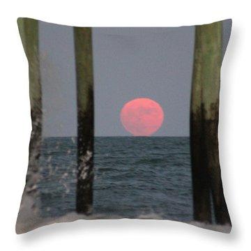 Pink Moon Rising Throw Pillow